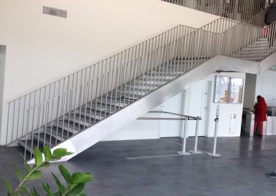 Stand-alone staircase, 15m brushed stainless steel